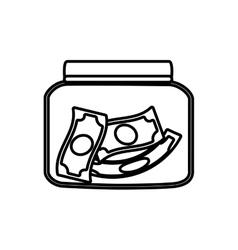 Money saving money glass line vector
