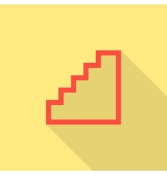 Red stairway icon isolated on yellow background vector