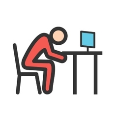 Sleepy worker exhausted icon image can vector