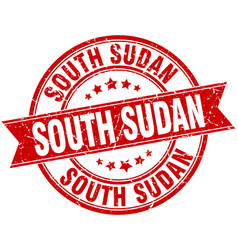 South sudan red round grunge vintage ribbon stamp vector