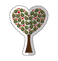 Tree plant with heart ecological icon vector