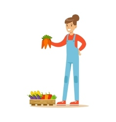 Woman Holding Bunch Of Carrots Farmer Working At vector image