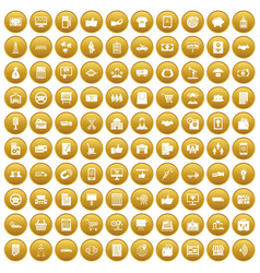 100 business icons set gold vector