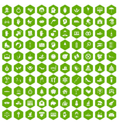 100 joy icons hexagon green vector