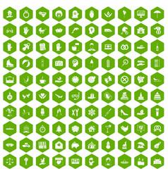 100 joy icons hexagon green vector image vector image