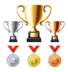 Trophy cups and medals vector image