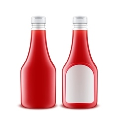 Set of plastic red ketchup bottle with white label vector