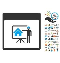 Realty developer calendar page flat icon vector