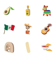 Country mexico icons set cartoon style vector