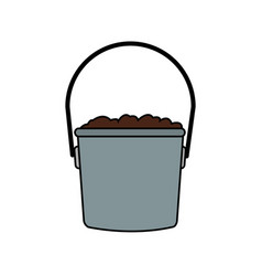 Bucket with dirt icon image vector