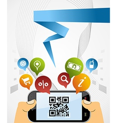 Smart phone qr code application background vector