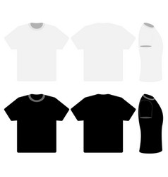 three black and white t-shirts vector image