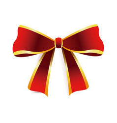 Red bow golden border decoration christmas element vector