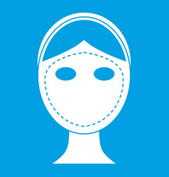 Face marked out for cosmetic surgery icon white vector