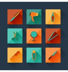 Set of hairdressing icons in flat design style vector