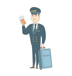 Caucasian steward showing passport and ticket vector