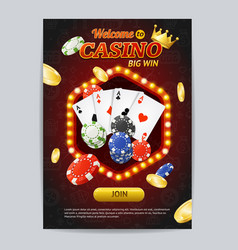 Casino gambling game poster card template vector