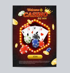 Casino gambling game poster card template vector