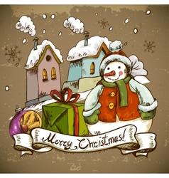 Snowman for Christmas design vector image