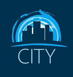 Logo evening city at sunset vector