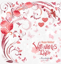 Romantic invitation card with floral elements for vector