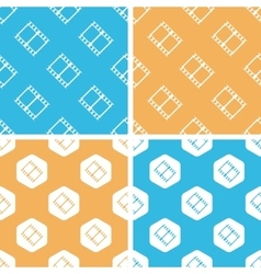 Film strip pattern set colored vector