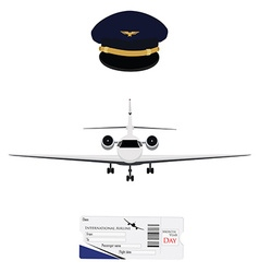Airplane ticket and pilot cap vector