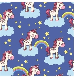 Cute seamless pattern with unicorn vector