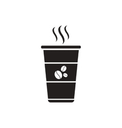 Black icon on white background cup of hot vector