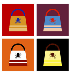 Assembly flat icons halloween bag vector