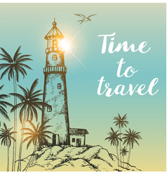 background with lighthouse and palms vector image vector image