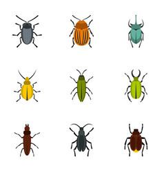 Beetle icons set flat style vector