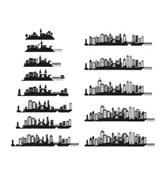black city icons set vector image