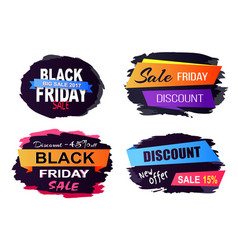 black friday sale stickers on vector image