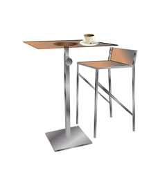 Cafe table with coffee vector
