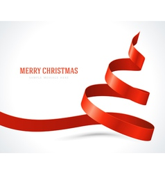 Christmas tree red from ribbon background vector image