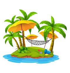 Coconut trees and hammock on island vector