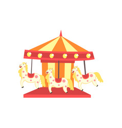 Colorful carnival carousel with horses funfair or vector