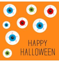 Eyeball set with bloody streaks happy halloween vector