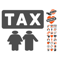 Family tax pressure icon with valentine bonus vector