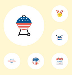 flat icons barbecue history holiday and other vector image