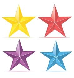 Four colors stars set vector image
