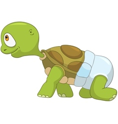 Funny Turtle Baby First Step vector image vector image