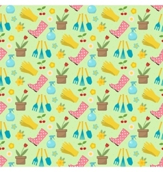 Gardening seamless pattern with garden tools vector