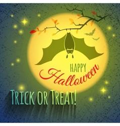 Halloween card with bat vector image