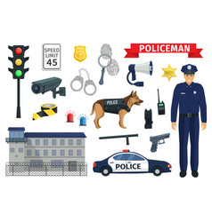 Icons of policeman occupation and police vector