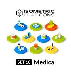 Isometric flat icons set 18 vector image vector image