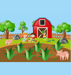 kids planting tree in the farmyard vector image