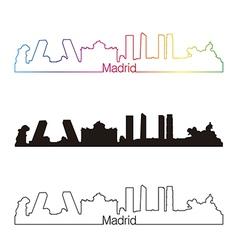 Madrid skyline linear style with rainbow vector