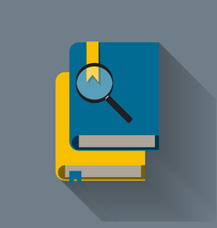 Magnifying glass and books read to know vector